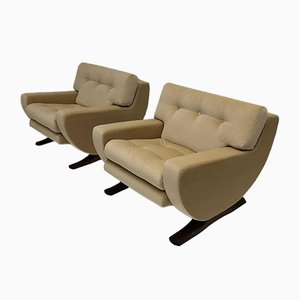Italian Mohair Lounge Chairs by Franz Sartori for Flexform, 1960s, Set of 2
