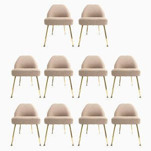 Italian Brass and Wool Dining Chairs by Carlo Pagani for Arflex, 1952, Set of 10