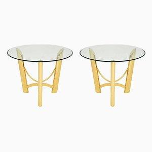 Tables d'Appoint Vintage en Laiton et Verre, Italie, 1970s, Set de 2
