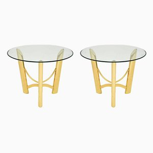 Vintage Italian Brass and Glass Side Tables, 1970s, Set of 2