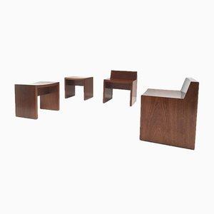 Moderne Kirchenstühle aus Mahagoni von Harry Nefkens, 1960er, 4er Set