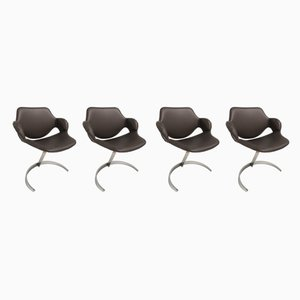 French Scimitar Chairs by Boris Tabacoff for MMM, 1960s, Set of 4