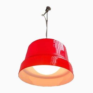 Lámpara colgante italiana modernista de latón y cristal de Murano de Gino Vistosi, años 60
