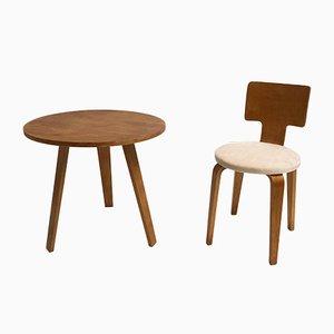 Juego de mesa y silla de contrachapado de Cor Alons para Den Boer Gouda, años 50