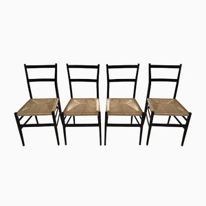 Leggera Black Ebonized Dining Chairs by Gio Ponti for Cassina, 1957, Set of 4