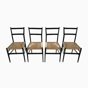 Leggera Black Ebonized Dining Chairs by Gio Ponti for Cassina, 1957, Set of 4