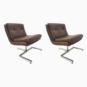 Modernist French Chrome Plated & Leather Lounge Chairs from Raphael Furniture, 1970s, Set of 2