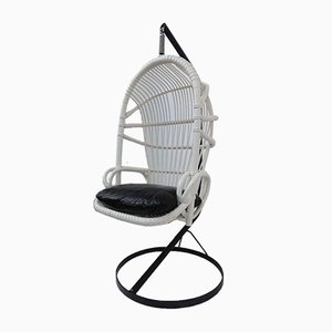 White Cane Parrot Hanging Chair from Rohé Noordwolde, 1960s