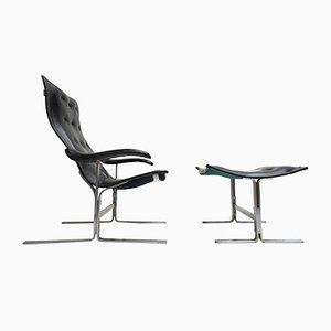 Italienischer Sessel & Fußhocker von Franco Campo, 1960er