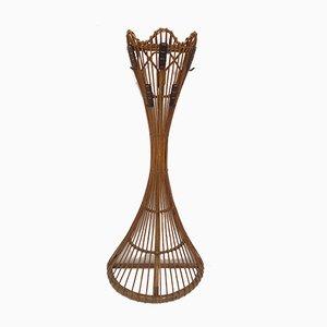 Perchero italiano de cuero, bambú y mimbre de Bonacina, años 50