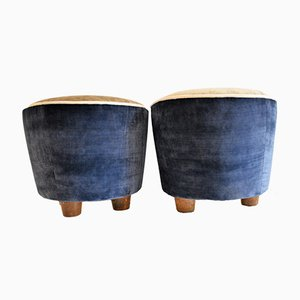 Mid-Century Velvet Ottomans, 1950s, Set of 2