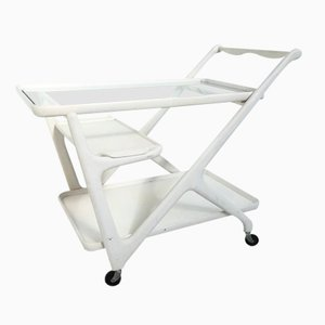 Italian White Serving Bar Cart by Cesare Lacca for Cassina, 1950s