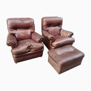 Italian Edoardo Set with 2 Lounge Chairs & Ottoman from Poltrona Frau, 1960s