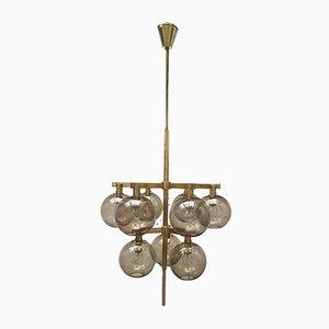 Lámpara de araña escandinava moderna con globos de vidrio y latón de Hans-Agne Jakobsson, años 60
