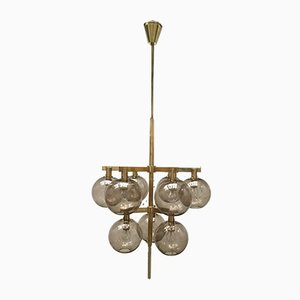 Scandinavian Modern Brass and Glass Globes Chandelier by Hans-Agne Jakobsson, 1960s