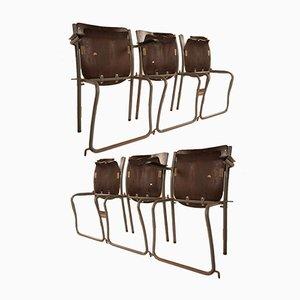 Sillas de escuela holandesas de Sjoerd Schamhart, años 50. Juego de 6