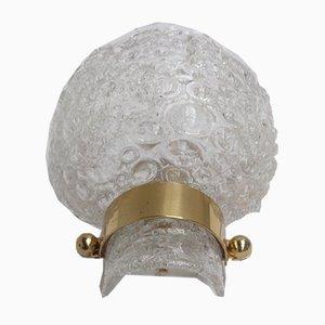 Apliques de pared de cristal hielo y latón con relieve de Kaiser Leuchten, años 60. Juego de 2