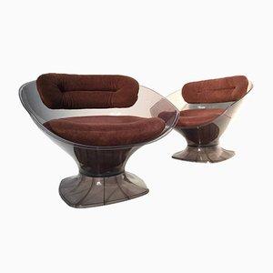 Moderne gepolsterte französische Sessel aus Plexiglas von Raphael Furniture, 1970er, 2er Set
