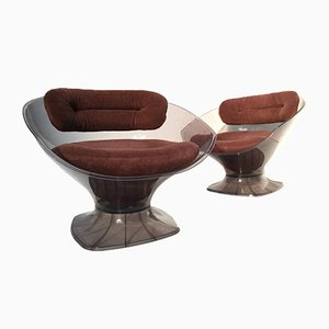 Modernist French Upholstered Plexiglas Lounge Chairs from Raphael Furniture, 1970s, Set of 2