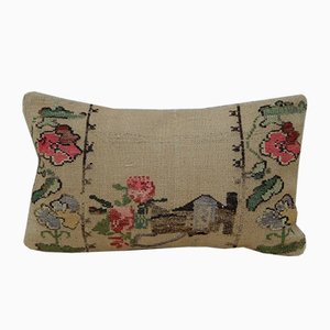 Embroidered Aubusson Style Kilim Pillow Cover