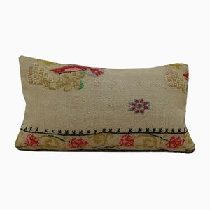 Small Pink Needlepoint Tapestry Aubusson Kilim Pillow Cover