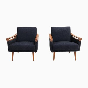 Mid-Century German Beech and Wool Armchairs from Lifa, 1963, Set of 2