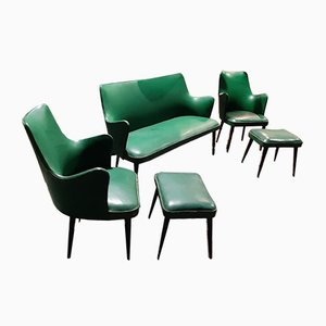 Italian Green Living Room Set, 1950s