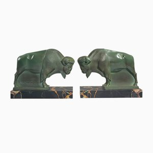 Bison Bookends by Max Le Verrier, 1930s, Set of 2