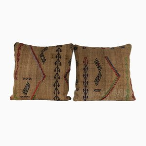 Organic Wool Outdoor Turkish Kilim Pillow Covers, Set of 2