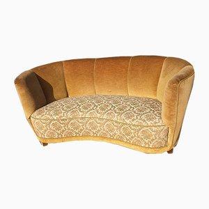 Mid-Century Danish Velour Sofa, 1940s