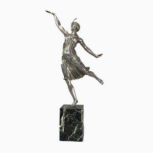 Vintage Tänzerin aus versilberter Bronze von Joe Descomps