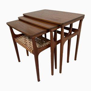Tavolini a incastro in teak di Erling Torvits per Heltborg Møbler, Danimarca, anni '60