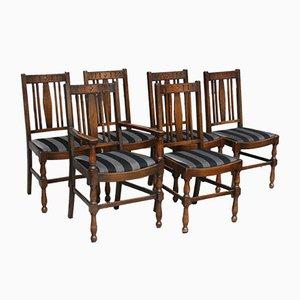 Sedie da pranzo antiche in quercia, set di 6