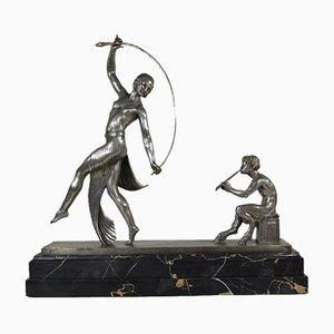 Skulptur aus versilberter Bronze von Guirande, 1920er
