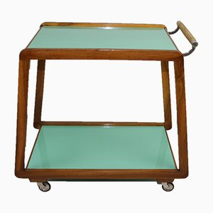 Mid-Century Wood and Stained Glass Trolley, 1950s