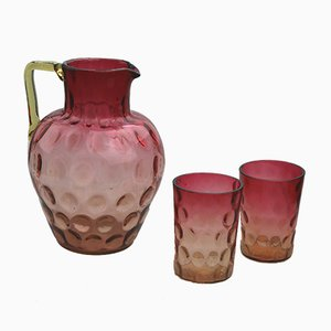Antique Amberina & Cranberry Lemonade Set
