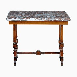 Table d'Appoint Antique en Acajou et Marbre