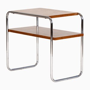 Tavolino Bauhaus in metallo cromato e quercia