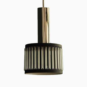 Lampe à Suspension Mid-Century en Verre et Métal, 1960s