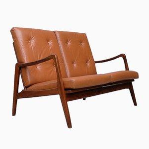 Deutsches Mid-Century Sofa aus Leder & Teakholz von Bergmann, 1950er