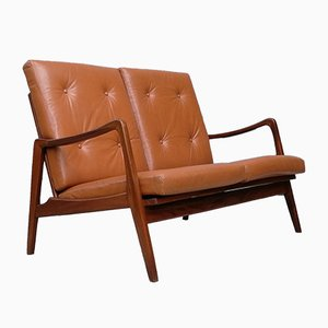 Mid-Century German Leather & Teak Sofa from Bergmann, 1950s