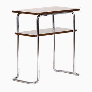 Mesa auxiliar Bauhaus de metal cromado, acero y nogal