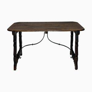 Tavolino da caffè antico in ferro e legno di noce, Spagna