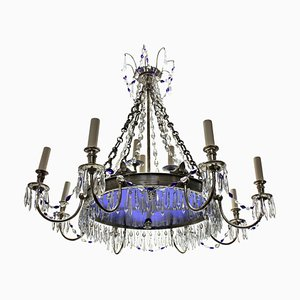 Antique Russian Blue Glass & Silver-Plated Chandelier, 1890s