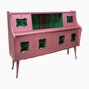 Mid-Century Italian Wood and Faux Malachite Cabinet, 1950s