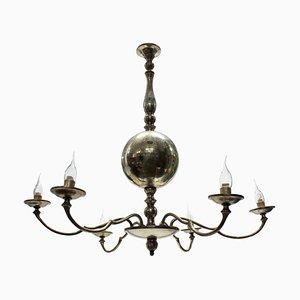 Lámpara de araña francesa Mid-Century plateada, años 50