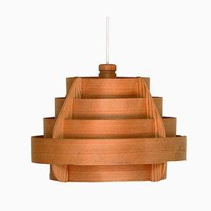 Lampada da soffitto Mid-Century in pino di Hans-Agne Jakobsson per Ellysett, anni '60