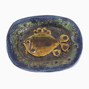 Vintage Glazed Ceramic Plate by Zdenek Sigmund, 1971