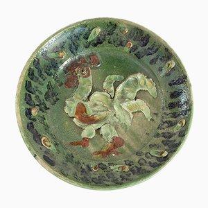 Glasierter Vintage Keramikteller von Zdenek Sigmund, 1957