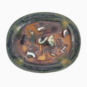 Glasierter Vintage Keramikteller von Zdenek Sigmund, 1967